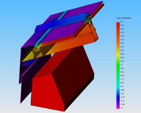 3D thermal simulation of a skylight eave allows for verification of risk of frosting drainage paths.
