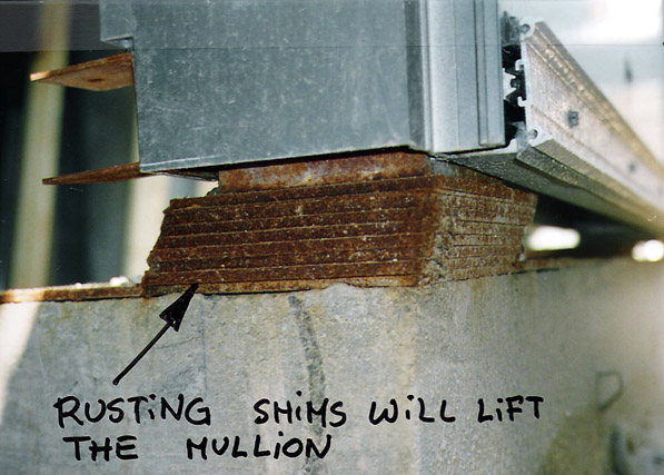 Curtain Wall Shims : Different methods of mullion support
